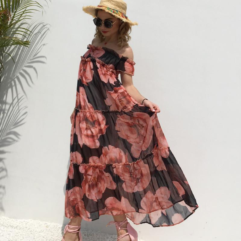 Womens Deisgner Chiffon Dresses Casual Floral Printed Dress Fashion Ruffle Panelled Dress Holiday Style Womens Floor-Length Dresses