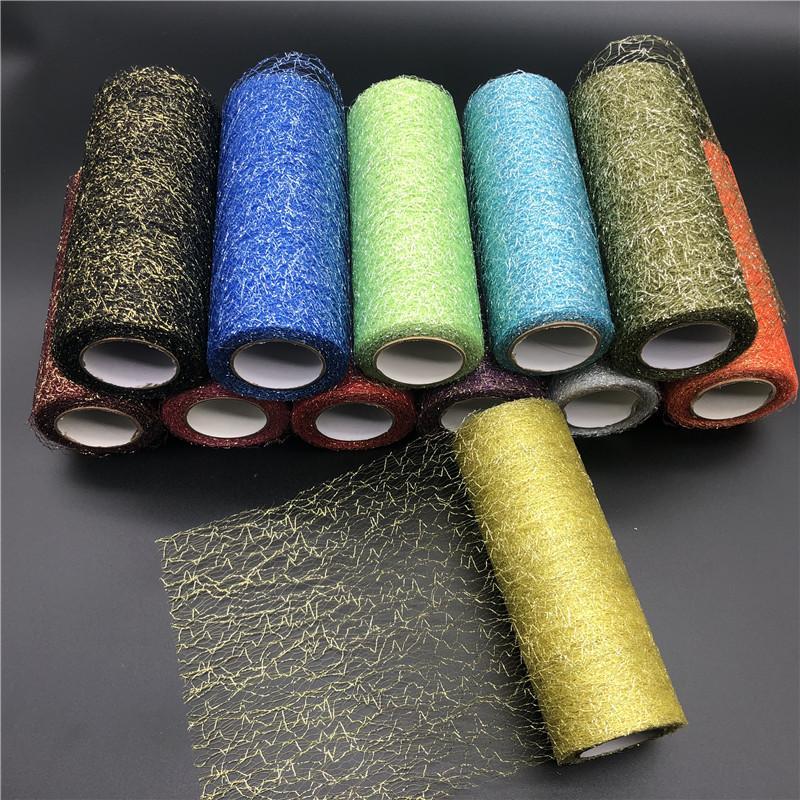 9.2m Spool Fabric Ribbon Glitter Organza Tulle Roll Skirt Decoration Gold Silver