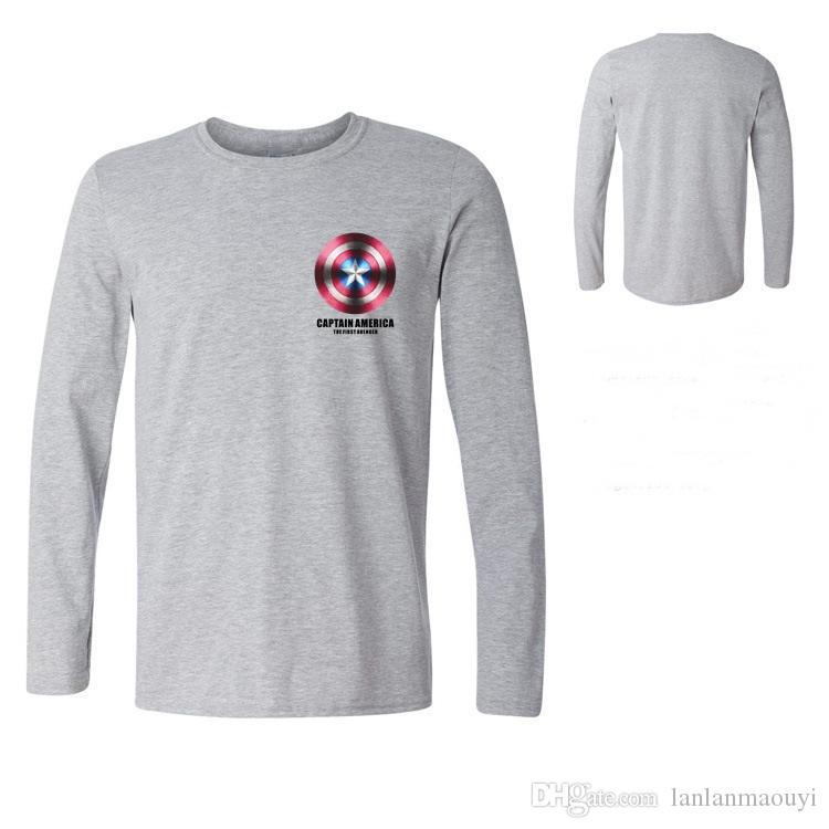 T-shirt Captain America Shield Guerre Civile Tee 3D Imprimé T-shirts Hommes Marvel Avengers 3 Iron Man Fitness Vêtements Homme Manche Long