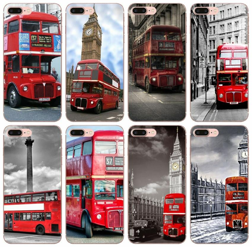 [TongTrade] London Bus Classical Case For iPhone 8 7 6 5 4 Plus X XS 11 Pro Max Samsung J5 J7 Huawei Y9 Motorola Moto G5 High Quality Case