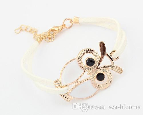 Wholesale Vintage Multilayer Cute Owl Bracelet Charms Owl Handmade Handmade Braided Leather Bracelets Best Friendship Gift D576L A