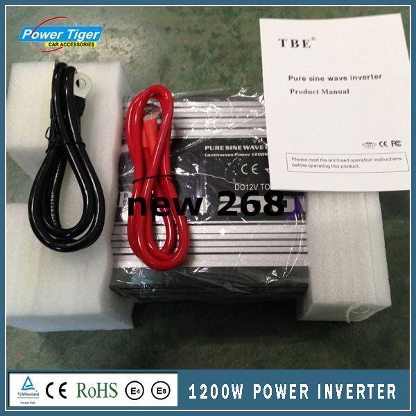 Freeshipping Car Power Inverter Pure Sine Wave 1200W WATT DC 12V to AC 220V Portable Car Power Inverter Adapater Charger Converter