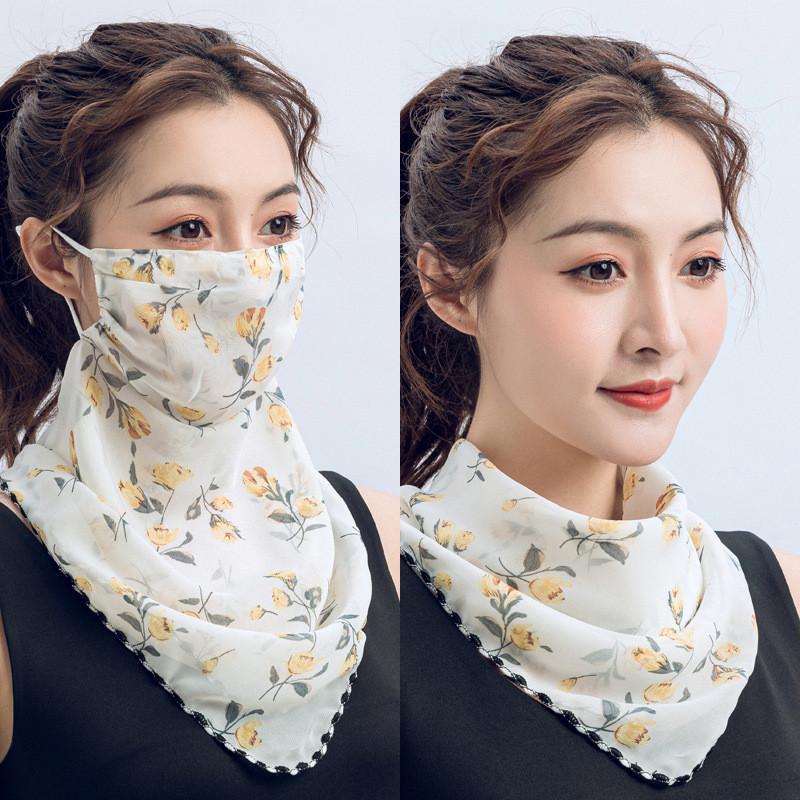 Горячий шелковый шарф шарфы Durag маски Новые шеи маски солнцезащитного летние дамы маски на улице верхом дышащий пылезащитный голову обернуть шарф волос