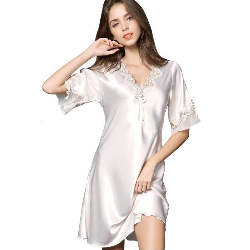 Sexy donne raso seta da notte della camicia da notte mezza manica ricamo Camicia da notte sexy della biancheria più il formato S XXL Femminile Babydoll T191015