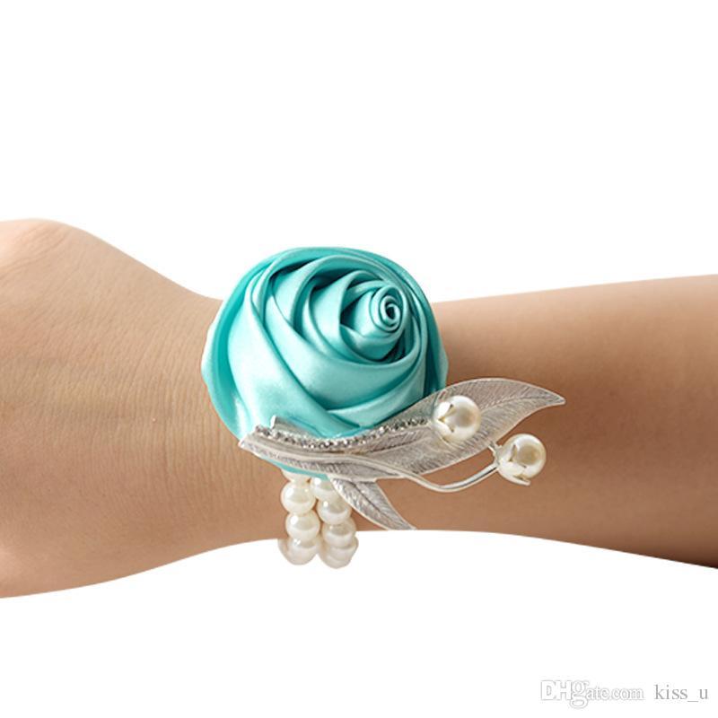 2019 Wrist Flower Rose Silk Ribbon Bride Corsage Hand Decorative Wristband Bracelet Bridesmaid Curtain Band Bouquet