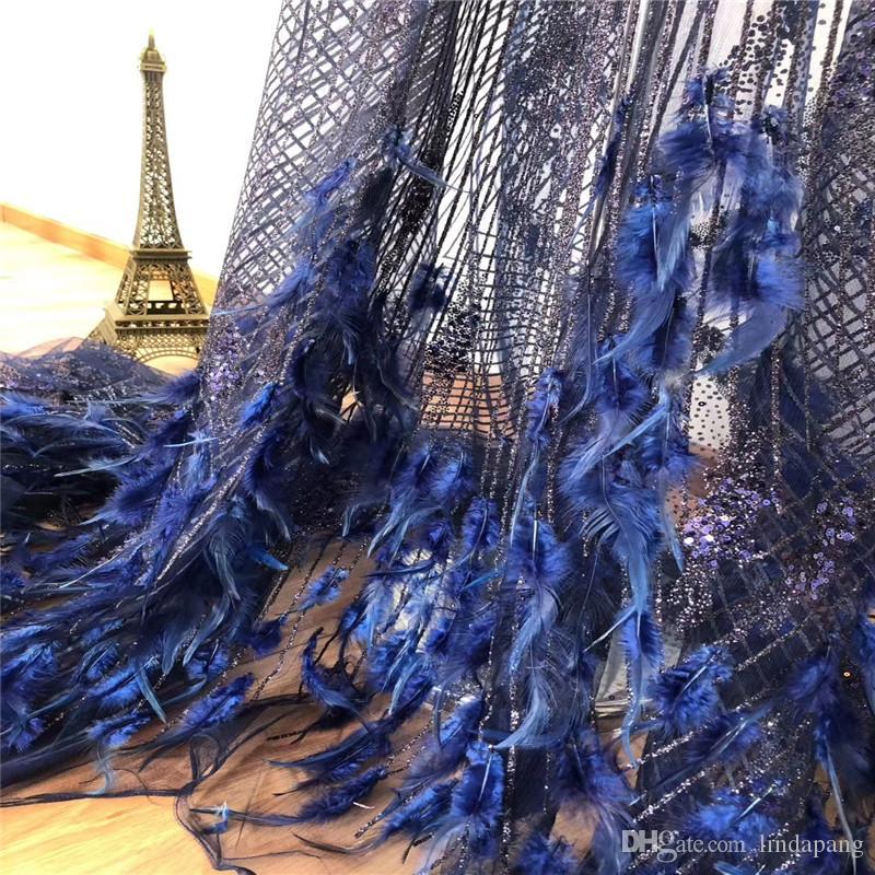 Последние ткани кружева Вышивка Тюль Кружево Ткань высокого качества Нигерийский моды Ткань с блестками 3d перо Французский