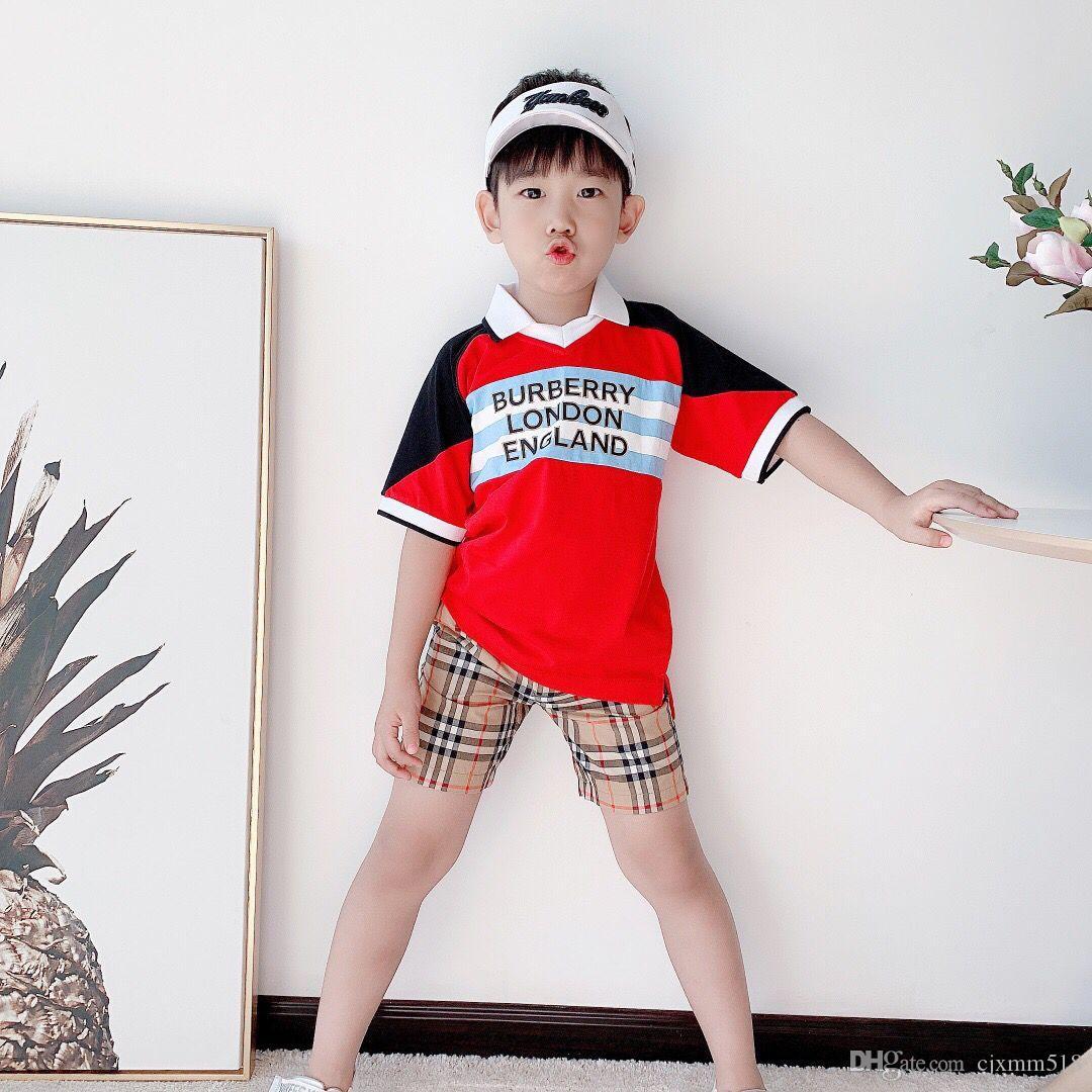 طفل رضيع ملابس الصيف قصير كم لون الصلبة شهم قمزة أعلى طفل بنين القطن بدوره إلى أسفل طوق جيب قميص بولو وسيم