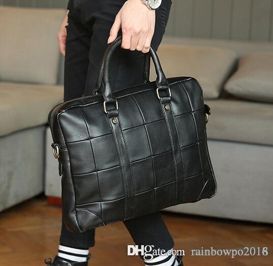Original design brand of soft leather briefcase bag trend men Vintage AONISI portable computer bag mens casual men briefcase