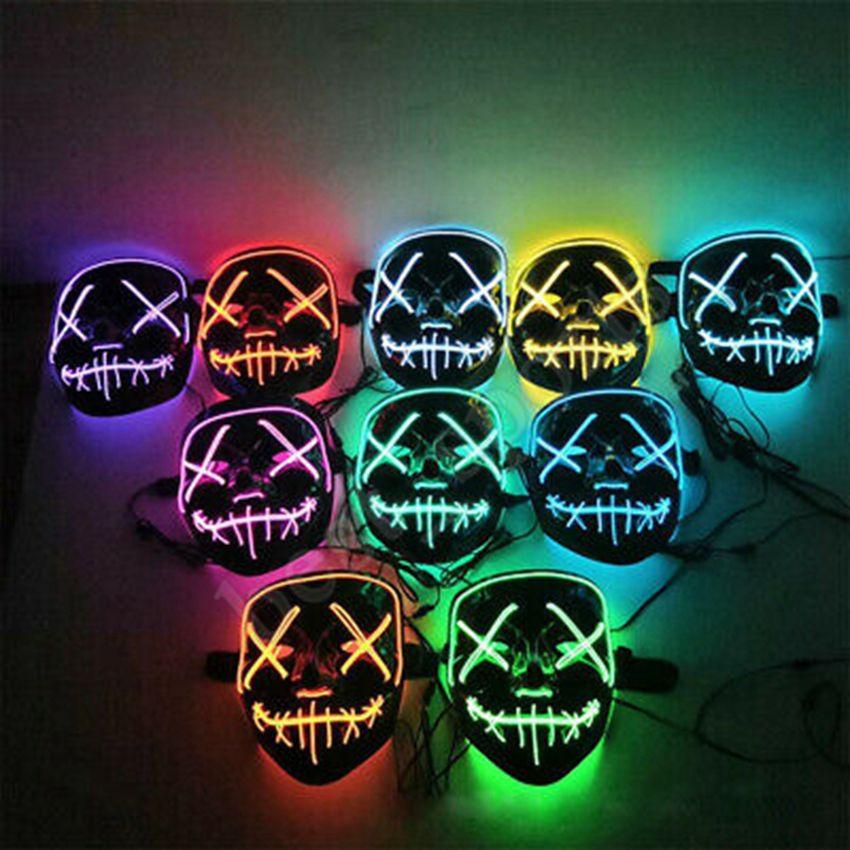 20 estilos de Halloween LED que brillan máscara del partido de Cosplay Máscaras del partido del club de DJ alumbrar máscara Bar Joker protectores faciales ZZA1188 120PCS