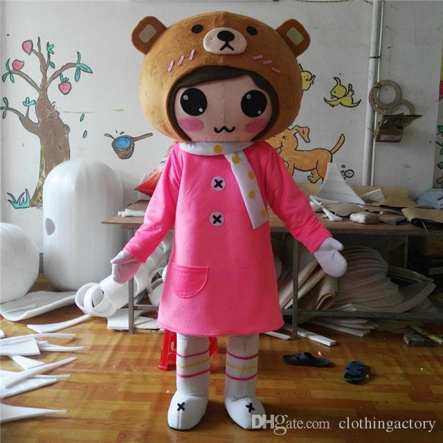 Costumi del fumetto della mascotte della ragazza Vestito da festival di carnevale Formato adulto del vestito