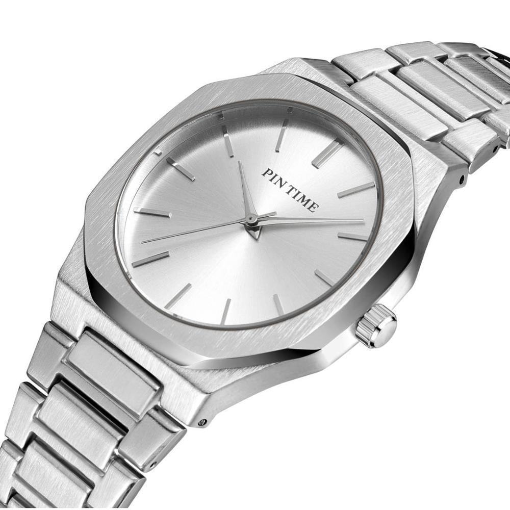 Модный бренд PINTIME простой циферблат классический бизнес мужские часы полный стальной кварцевые мужские наручные часы серебро золото часы Reloj Hombre