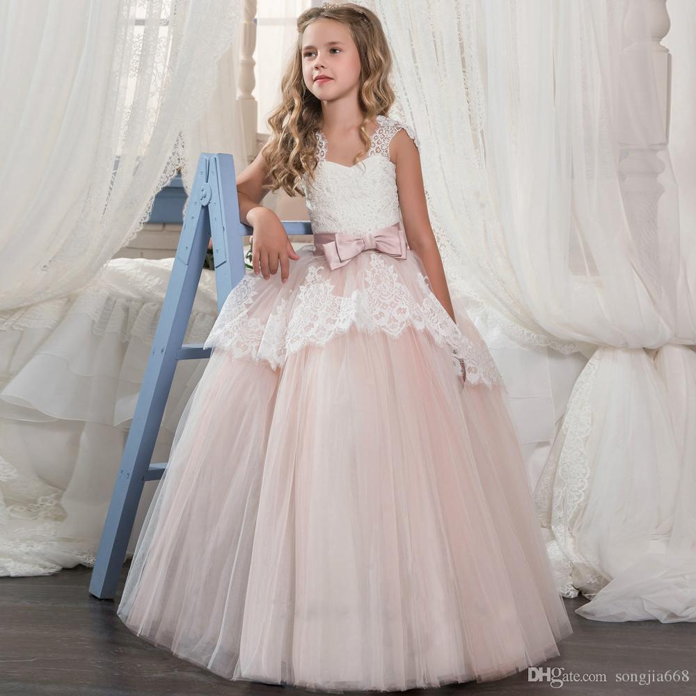 Новое прибытие розовый кружевной Цветочница платье для свадьбы Тюль Аппликации Первое Причастие платья бальное платье Vestidos Лонго Настраиваемый