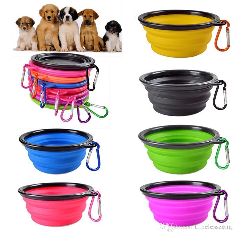 Viajes plegable del gato de alimentación del perro Tazón dos estilos plato bebedero para mascotas alimentador de silicona plegable bol con gancho 18 estilos para elegir