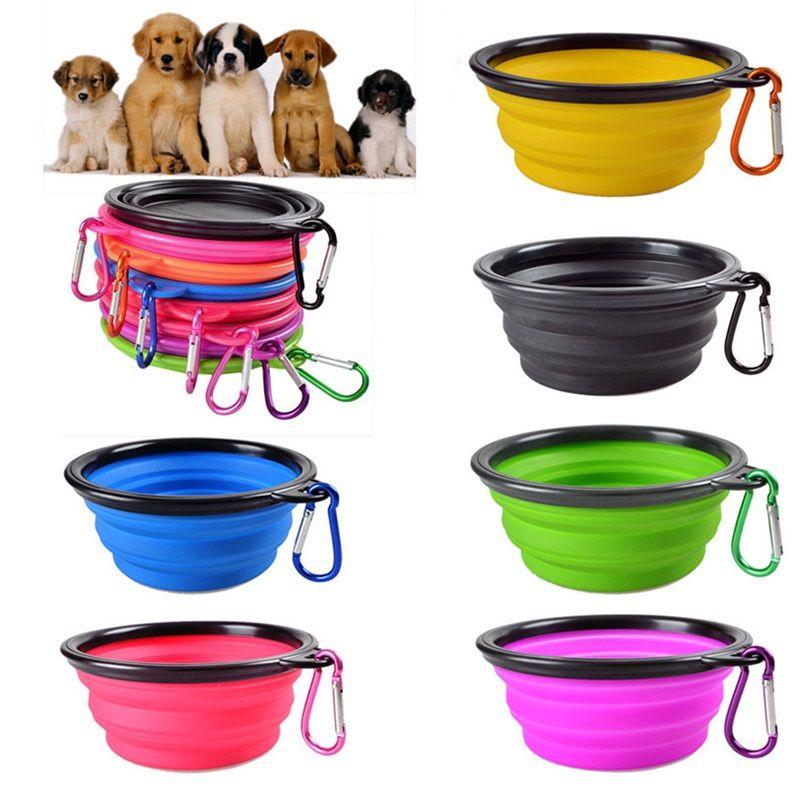 Reisen zusammenklappbare Hundekatze Katze Fütterungsschale Zwei Arten Haustier Wasser Teller Feeder Silikon Faltbare Schüssel mit Haken 18 Stilsorten zur Auswahl