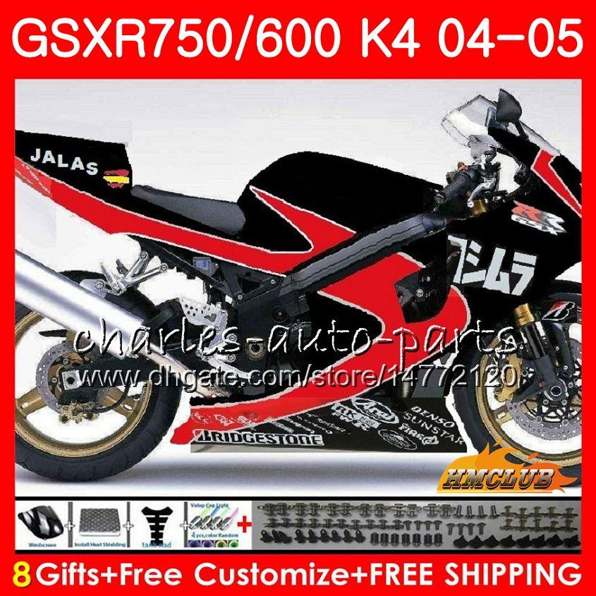 Kit für SUZUKI GSX R600 R750 GSXR600 GSXR750 GSXR 600 750 04 05 7HC.81 GSXR750 GSXR750 K4 GSXR600 glänzend rot schw 04 05 2004 2005 Verkleidungs