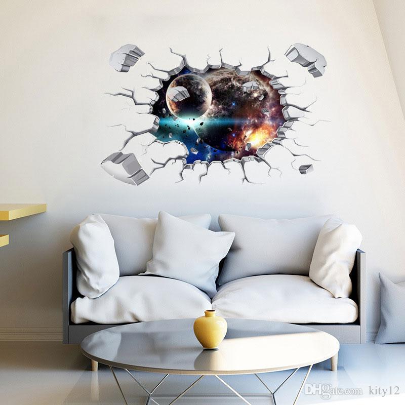 3D Broken Wall Sticker Star Planet Vinyl Decals Floor Kids Baby Room Wall Decor