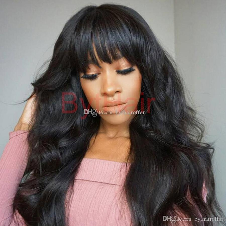 Bythair Lace Front Human Hair Bob Wigs Virgin Hair Peruvian Full Lace Wig With Baby Hairs Glueless Full Lace Human Wigs With Bangs