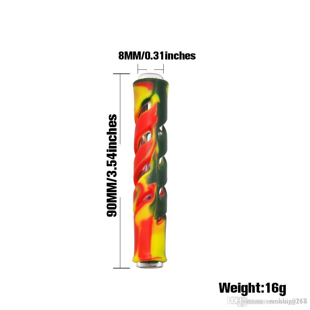 Silcione Pipes fumeurs de Hitter un tuyau en verre coloré filtre de cigarette pipe Mini Steamroller tabac à pipe main pour fumeurs Accessoires