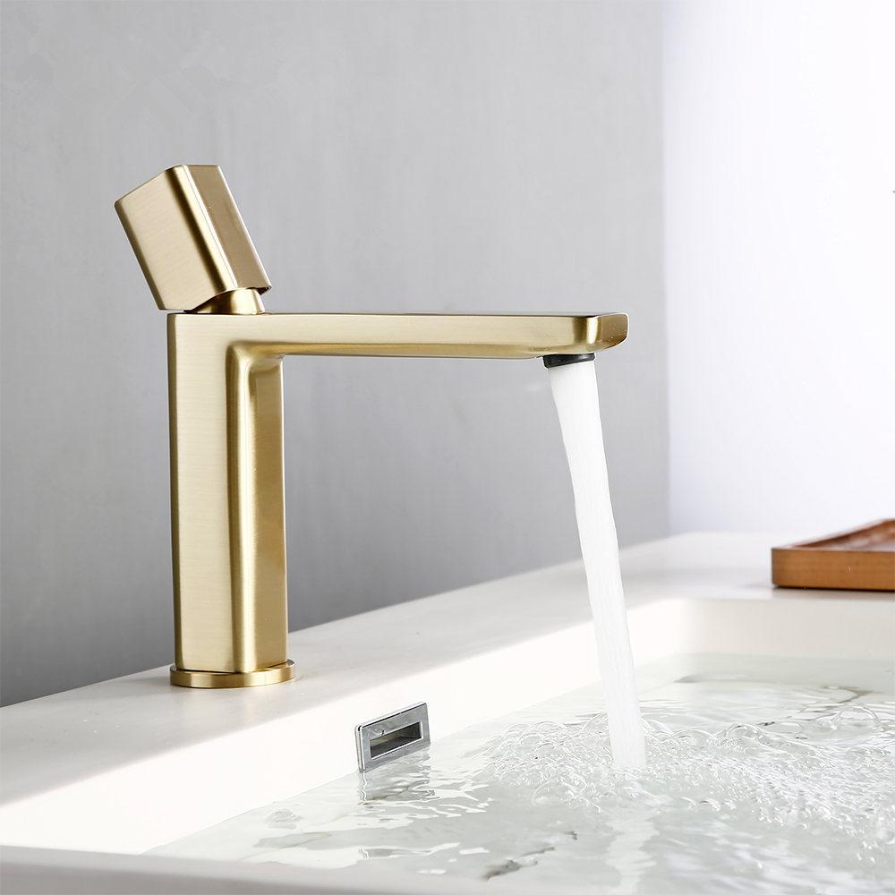 Gebürstet Gold Messing-einzelnes Loch Einhand-Deck montiert Basin warmes und kaltes Wasser Waschbecken Badarmaturen