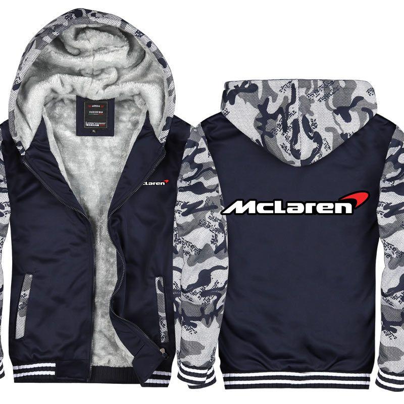 Kamuflaj McLaren logosu Baskılı Erkekler ve Kadınlar Kış Hoodie Fermuar Ceket Tişörtü Kalınlaşmak Hırka Ceket Eşofman ABD AB boyutu
