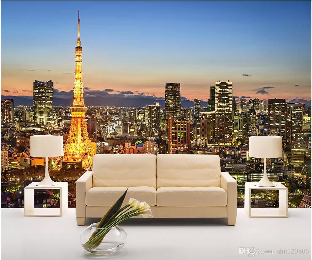 WDBH 3D 벽지 사용자 지정 사진 유명한 파리 타워 풍경 거실 TV 배경 홈 장식 3D 벽 벽화 벽지 3 d