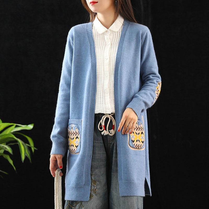 Hot Sale Women Long Sleeve Knit Cardigan Embroidered Sweater Open Front Cardigan Outwear CXZ
