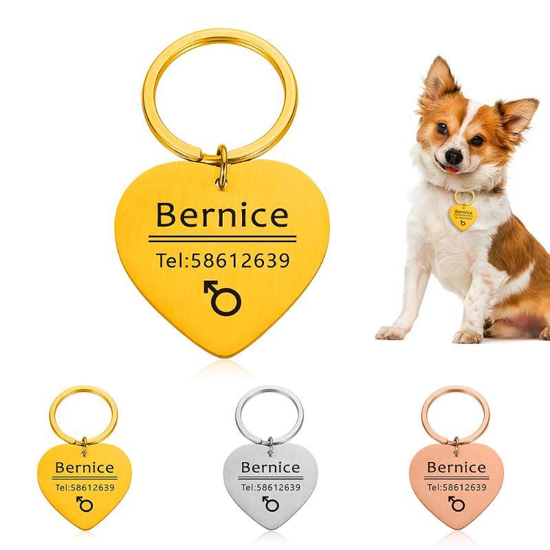 Personalized Collar Accessories Dog ID Tags Stainless Steel Pet ID Tags for Cats and Dogs Dog Tag Engraved Tel Sex NameTag