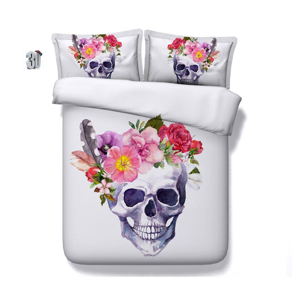 150x200CM 3PCS 3D Flower Floral Skull Print Duvet Cover Set Bedding with pillowcases, Microfiber Quilt Cover, Zipper Closure, NO Comforter