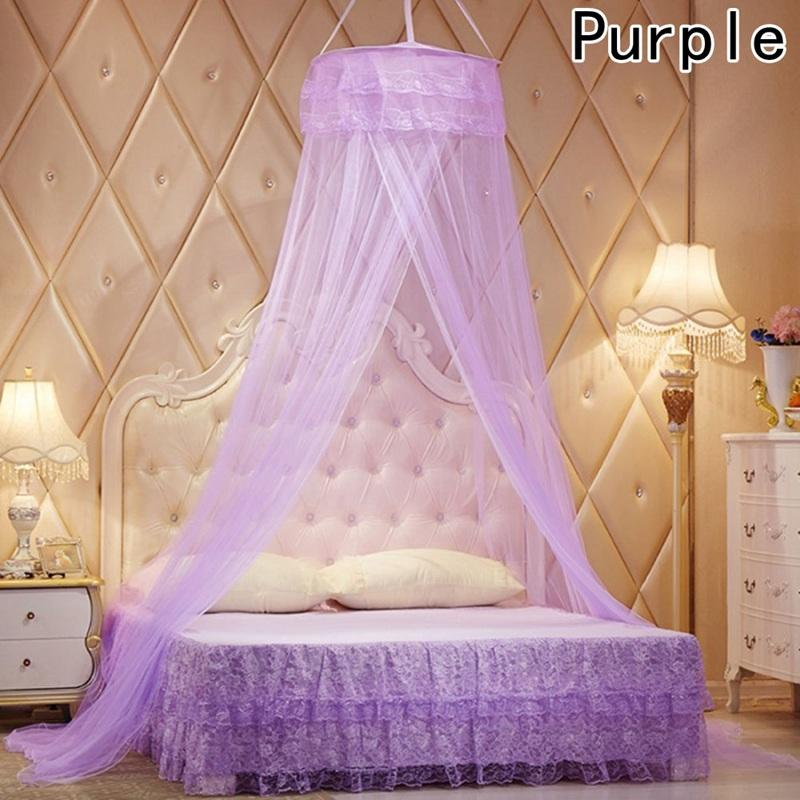 Elegant Lace Bed Mosquito Netting Mesh Canopy Princess Round Dome Bedding Net