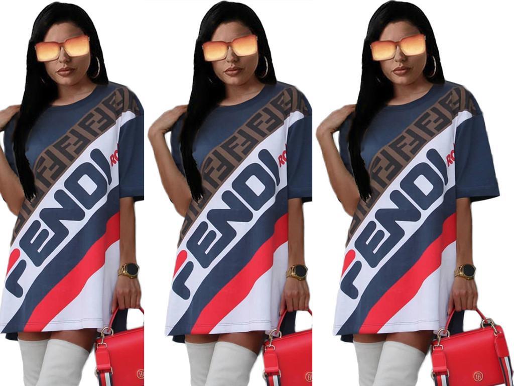 Fandi Designer T Shirt Abiti da donna Summer Brand Letter Print 1/2 Cap Sleeve Mini Street Pencil Abiti blu scuro S-2XL