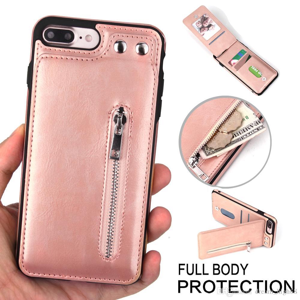 Кожаный кошелек на молнии Чехол для телефона Флип-слоты для карт Ударопрочный магнитный замок Подставка для подставки для iPhone XS Max 8/8 Plus / 7/7 Plus