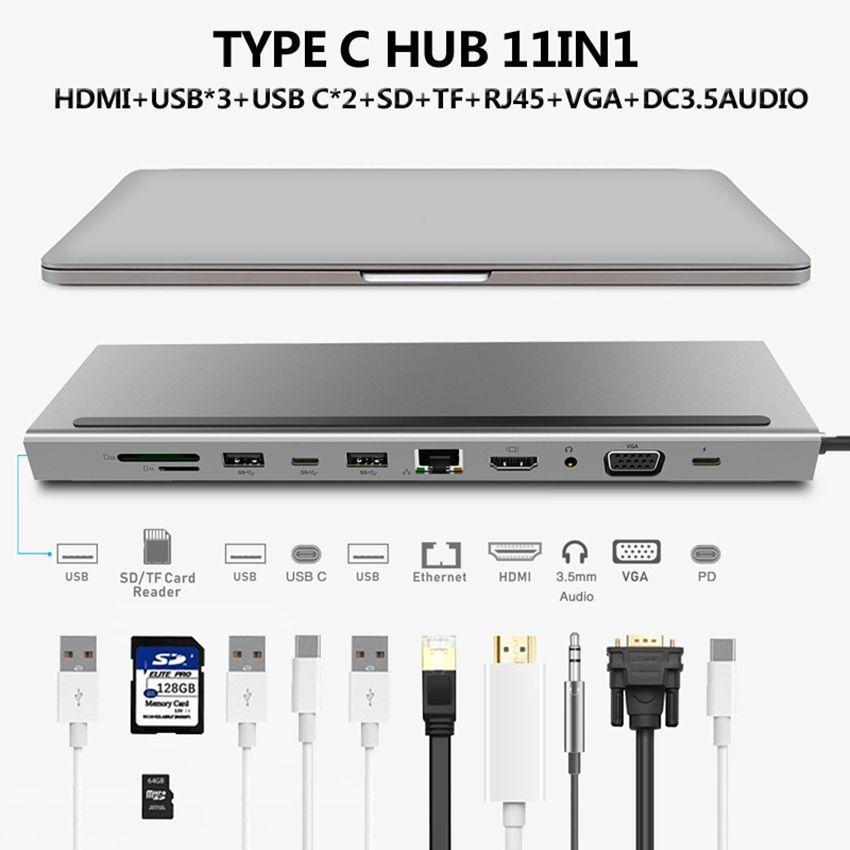 HDMI VGA RJ45 Çoklu Bağlantı Noktaları USB Macbook Xiaomi Huawei Kitap Laptop USB-C HUB Güç Adaptörü için 3.0 C Tipi Splitter 1 Türü C USB C HUB 11
