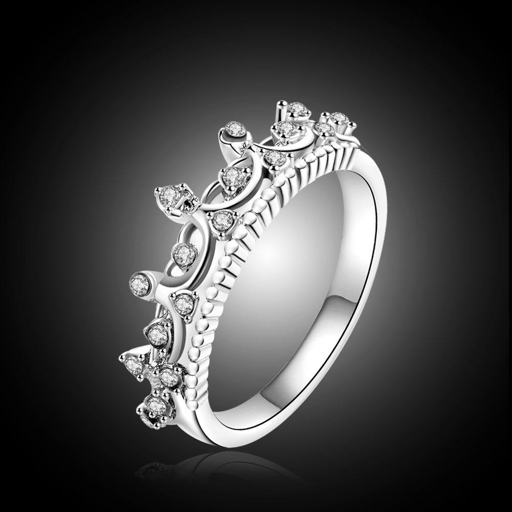 Bague de couronne de cristal de la mode coréenne bagues pour femme pour fiançailles mariée argent / rose couleur or bijoux à la mode 2019 Nouveau