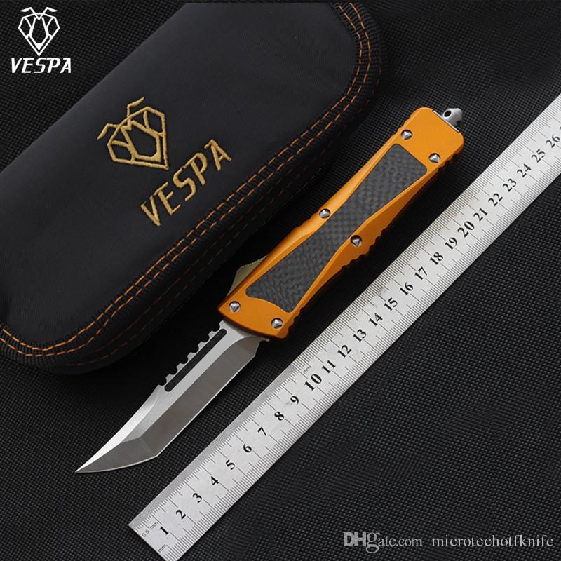 Yüksek kaliteli VESPA Bıçak Bıçak: S35VN (T / E Saten) Sap: Alüminyum + TC4 + CF, Açık kamp sağkalım EDC araçları bıçaklar