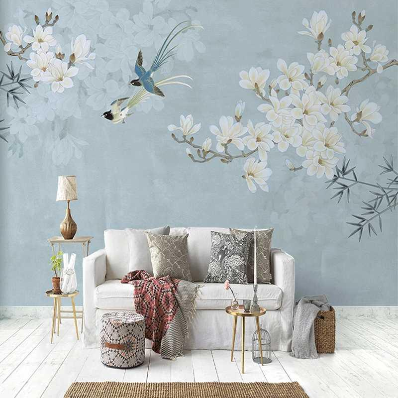 벽 스티커 거실 연구 벽화 페인팅 드롭 배송 주문 벽화 벽지 중국 스타일 목련 꽃과 새