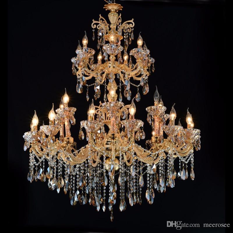 Large Gold Crystal Chandelier Lighting Big Cristal Lustres Light Fixture Chandelier Crystal for Hotel Project MD2117