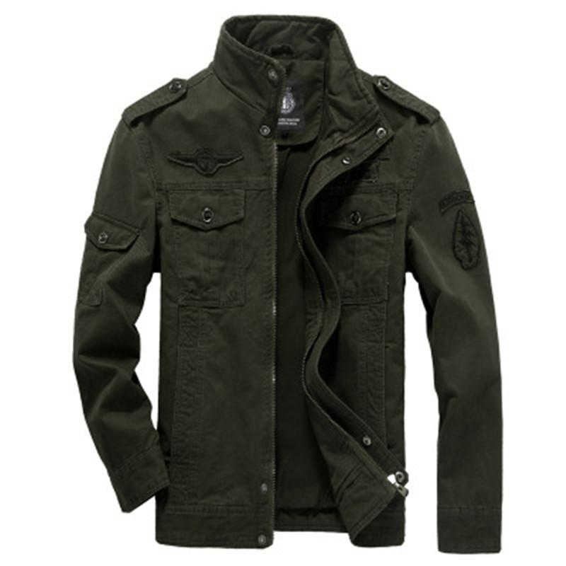Mens européenne Style militaire manteau uniforme broderie multi-poches Automne Hiver Vestes coton doux Fit Outdoor Jacket