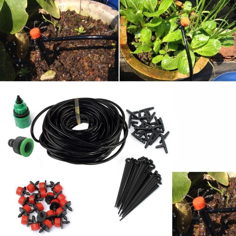 1 Set 5M-25M DIY Micro Drip Irrigation System Plant Automatic Self Watering Garden Hose Kits with Connector Adjustable Dripper