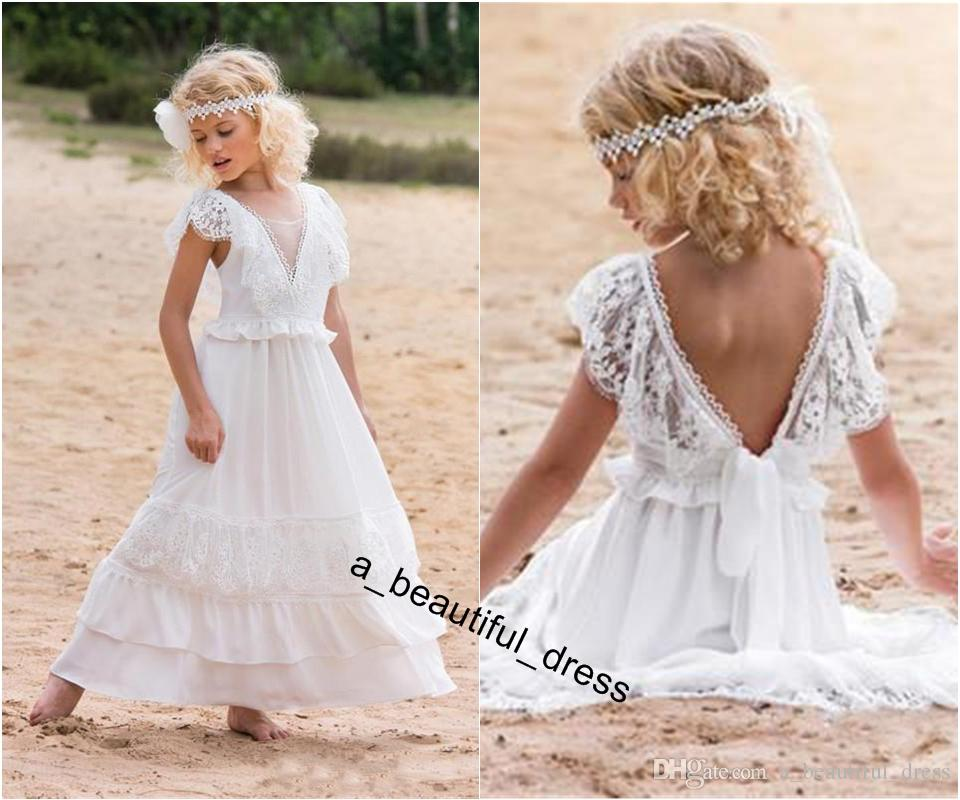 Cheap Bohemian White Flower Girl Dresses For Beach Wedding Pageant Gowns A Line Boho Lace V Neck Kids First Holy Communion Dress FG1264