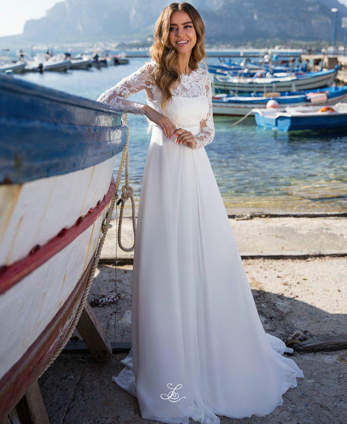New Design Beach Wedding Dresses 2020 Bateau Neck Long Sleeves Chapel Train Lace Satin Bride Gowns Vestido de noiva longo Robe de mariee