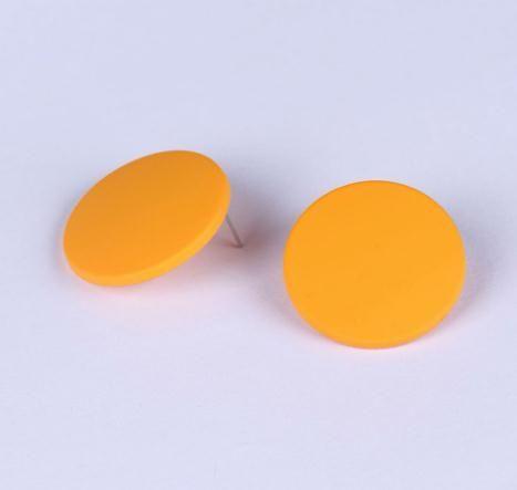 35mm 다채로운 큰 원형 스터드 귀걸이를 들어 여성 라운드 현대 귀걸이 오렌지 블랙 핑크 귀걸이 기하학적 여성 액세서리