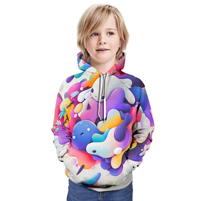 ropa de las nuevas 3d impresión digital de los niños del suéter encapuchado de los niños tocando fondo suéter fresco camisa del uniforme de béisbol y cómodo Z3