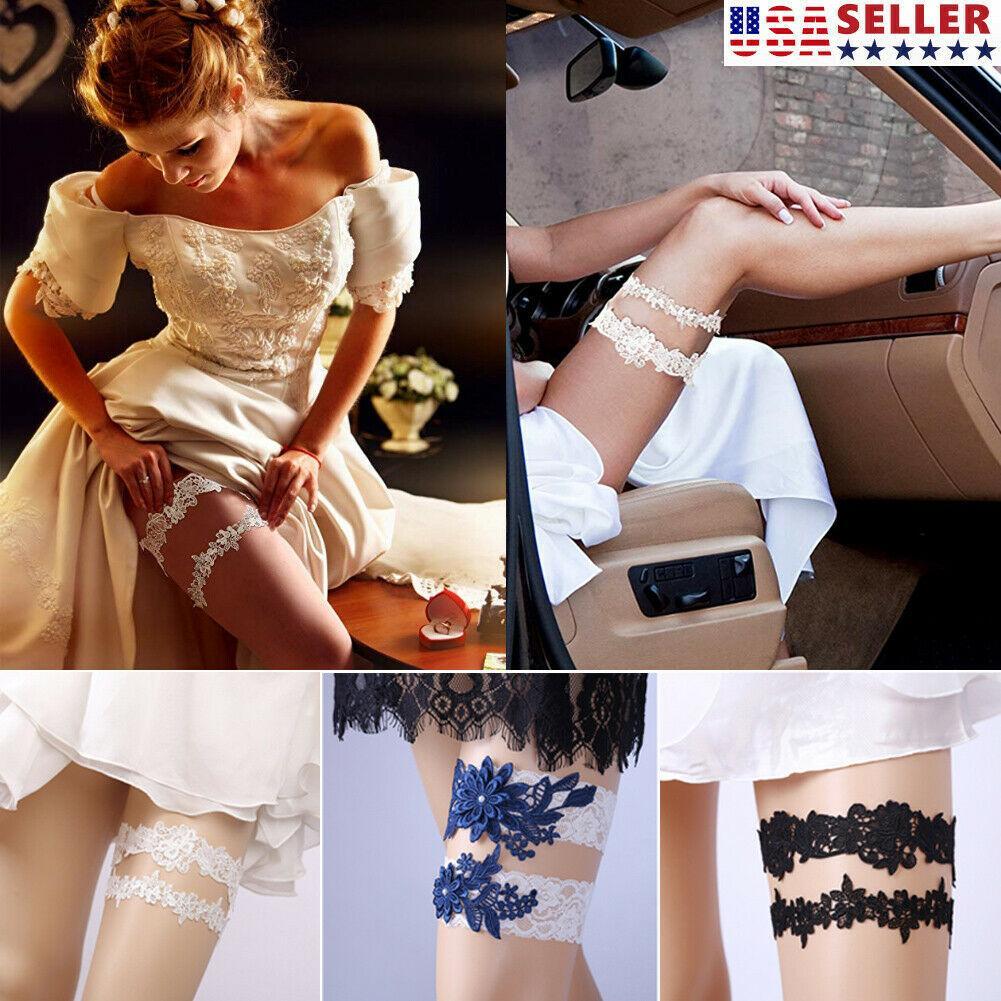 2шт / комплект свадебные подвязки кружева подвязки цветок полый выпускного вечера подвязки