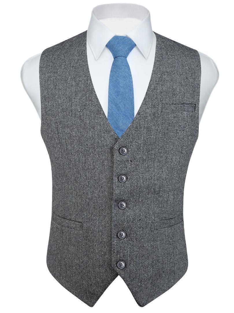 Mode für Männer mit Fischgrätmuster Tweed Anzüge Vest Slim Fit Verteidiger Wollmischung Kleid Weste für Anzug oder Smoking
