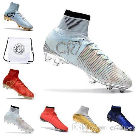 Kids Soccer Shoes Mercurial Superfly Fg High Quality 2019 Acc Cr7 Football Shoes For Sale Cleats Sports Boots Size 35-45 Football Bag