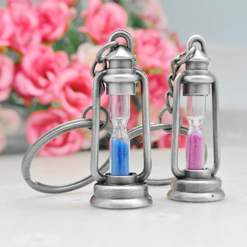 Старинные Металлические Песочные Часы Брелок Шарм Лампа Форма Брелок Для Ключей Автомобильная Сумка Пара Любителей Брелок Подарок
