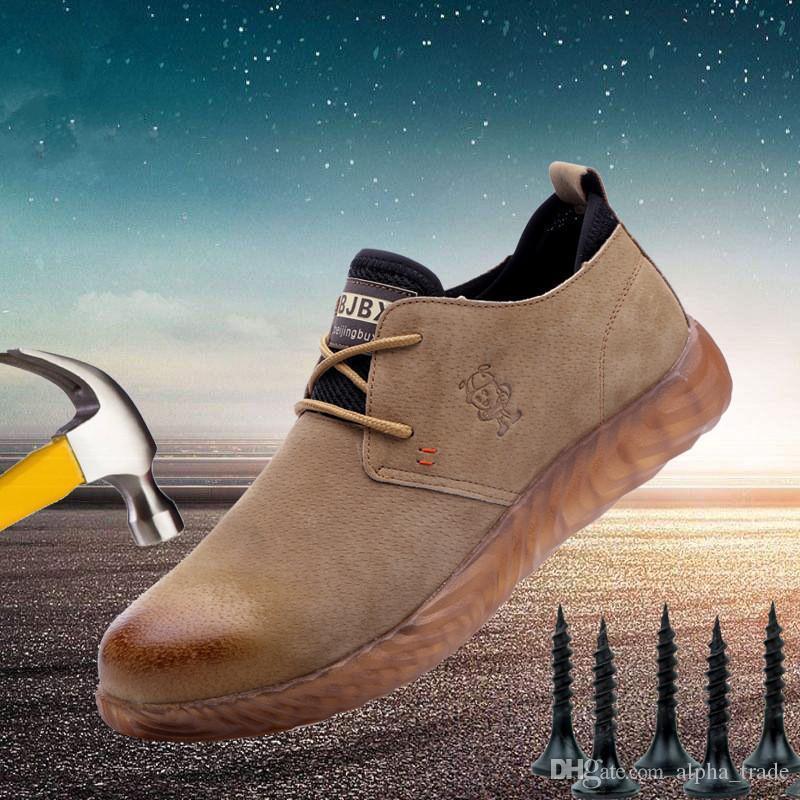 Hommes Steel Toe travail Chaussures de sécurité Construction Suede protection respirante travail Chaussures pour hommes Anti-fracassant cheville Chaussures