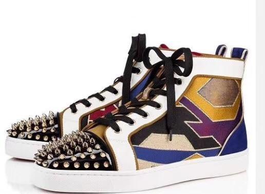 Дизайнер моды Luxury Светоотражающие белый кожаные ботинки черного золота красный женщин девушки Мужская мода удобный бренд плоские туфли jh190627