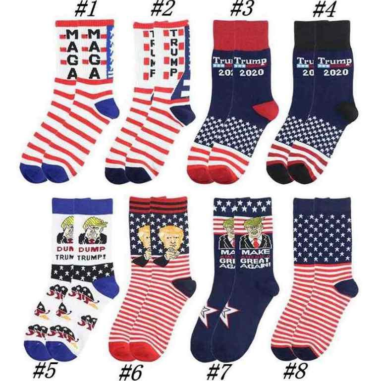 Président adulte Moyen MAGA Trump Lettre Bas rayé étoiles Drapeau américain Knit Chaussettes de sport Bas Hip Hop MAGA Sock ZZA2267 50Pcs