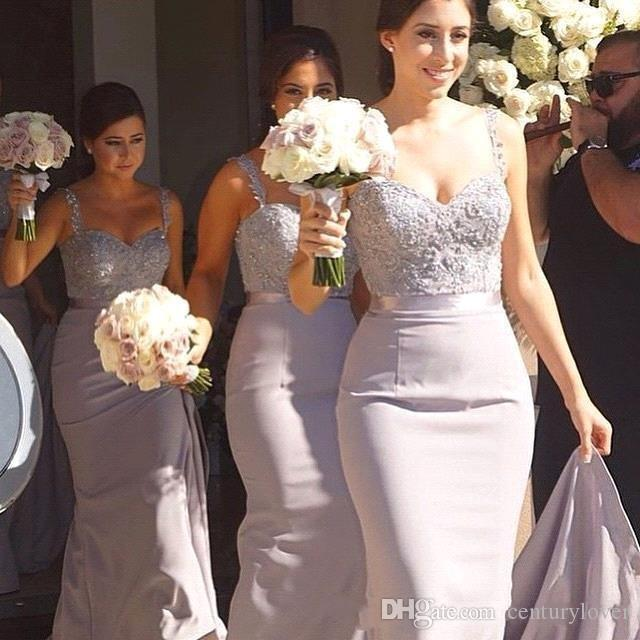 Hot Barato Sereia Lilás Plus Size Vestidos de Dama de Espaguete Correias Apliques de Renda Frisado Sweep Train Maid Of Honor Convidado Do Casamento Vestido